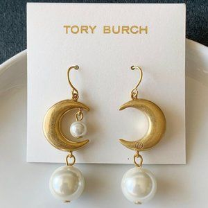 Tory Burch Moon Pearl Pendant Earrings
